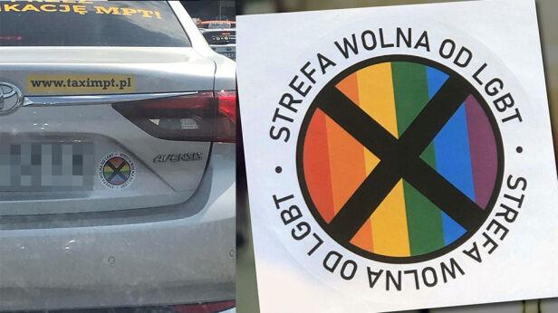 Naklejka pojawiła się na taksówce Kamil/warszawa@tvn.pl