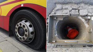 """Autobus wjechał w zniszczoną studzienkę. """"Uszkodzone koło"""""""