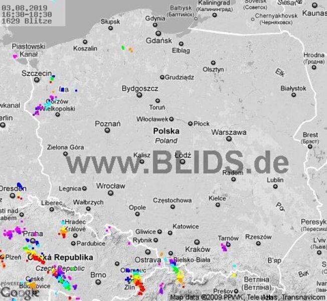 Ścieżka burz nad Polską (16.30-18.30) (blids.de)