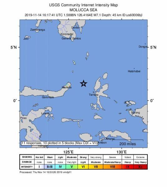 Lokalizacja trzęsienia Ziemi w Indonezji (USGS)
