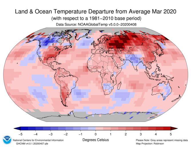 Odchylenie średniej temperatury lądu i oceanów w marcu 2020 od normy z lat 1981-2011 (NOAA)