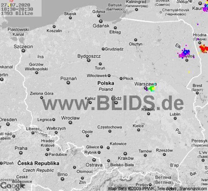 Ścieżka przechodzenia burz nad Polską w godzinach 18.30-20.30 (blids.de)