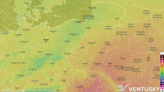 Zobacz, jak strumień arktycznego powietrza w środę przedzielił Polskę na pół