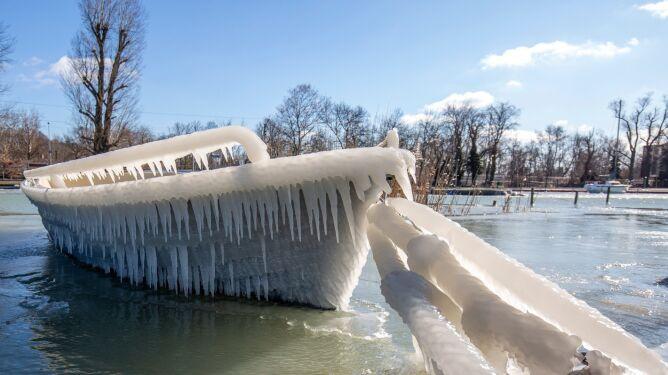 Brzegi Balatonu w kryształach lodu